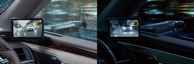 デジタルアウターミラーは、雨(左)や夜間(右)のような状況でも視認性がいいことがメリットのひとつだ