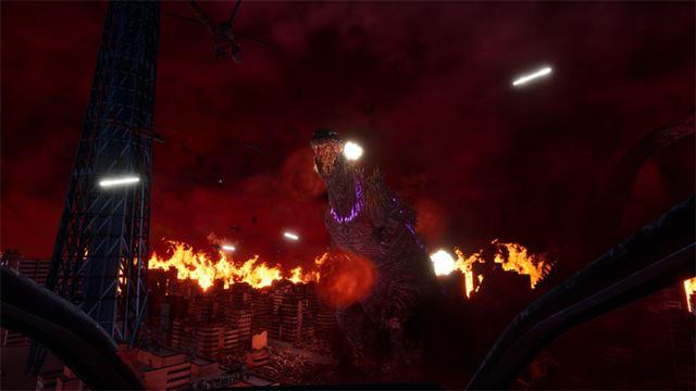炎の海と化した街で破壊の限りをつくすゴジラ。早く攻撃許可をください!