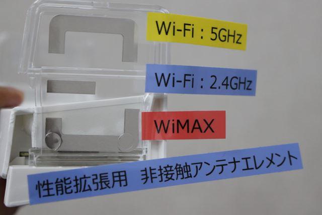別売りのクレードルの透明モデル。内蔵される「Wウイングアンテナ」の配置がよくわかる