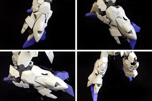 膝関節部分が分割して可動します。ユニコーンガンダムの脚の構造にも似ていますね