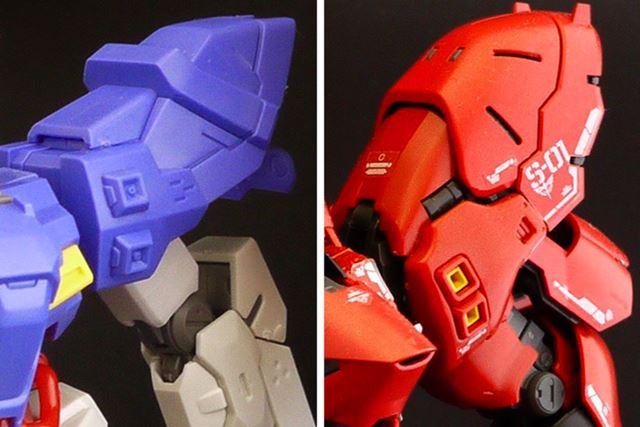 肩部分の形状はかなり似ています。ムーンガンダムを赤く塗装するとさらに似ているかもしれませんね