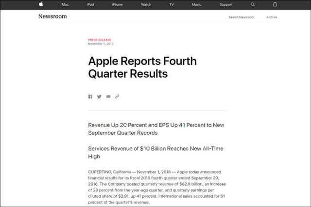 アップルは2018年7〜9月期の決算を発表