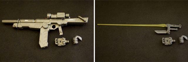 手のひらにスリットがあり、武器のグリップの突起を差し込み、しっかり武器を保持できます