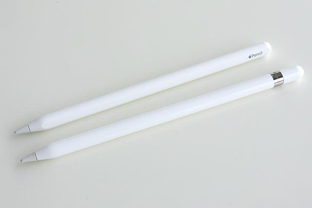 上が第2世代、下が第1世代のApple Pencil