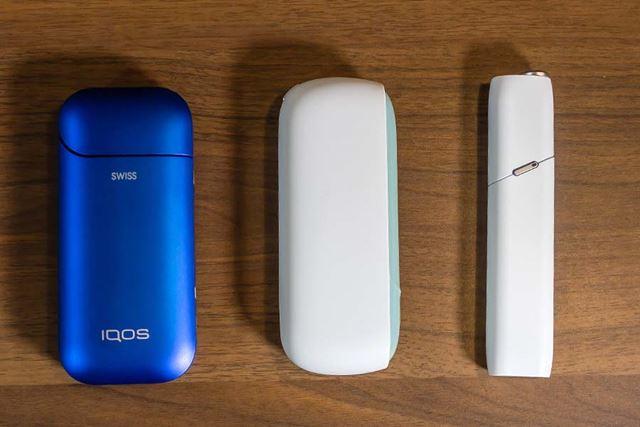 左から「アイコス2.4プラス」(以下、2.4プラス)「アイコス 3」「アイコス 3 マルチ」