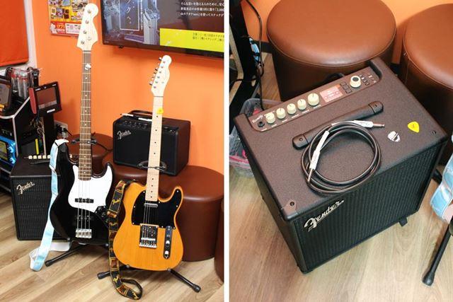 店舗で貸し出してくれるギター、ベース、アンプは、Fenderとその姉妹ブランドSquierの製品!