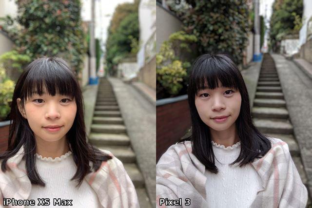 フロントカメラでのポートレートは、「Pixel 3」が若干アンダー気味