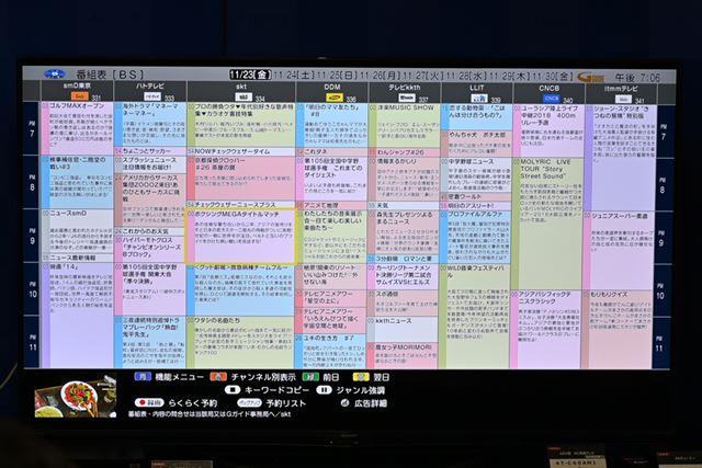 ネイティブ4K解像度で表示する「新4Kビジュアル番組表」