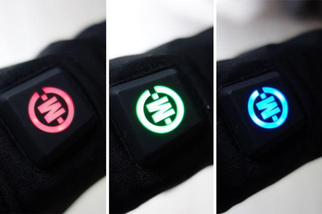 初動にダッシュで温めてくれる高温モード(赤)、その後の中温モード(緑)、任意で選べる低温モード(青)