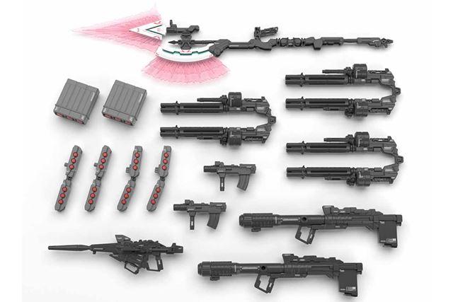 「ビーム・ガトリングガン」「ハンド・グレネード」など、フルアーマー時の各武装が付属