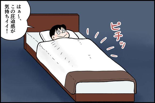 ピチピチにベッドメイクされたホテルのベッドに入り込んだときのような……