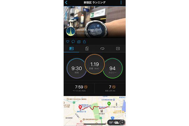 アプリに記録された「ラン」データのサマリー表示画面