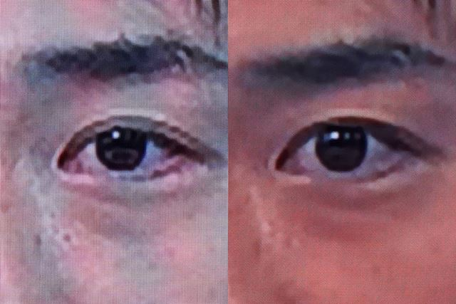 左が4Kのオリジナル素材、右がHD変換したものだ。4K番組を2Kに変換すると人肌の色が変化しているのがわかる