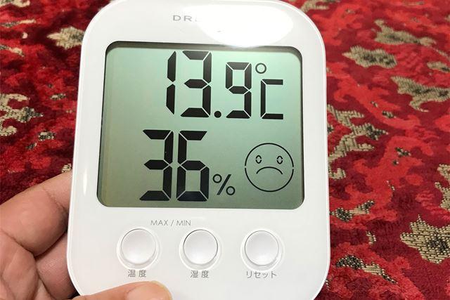 室温はA地点で14℃、B地点で15℃近辺に調整したうえでテストを行った