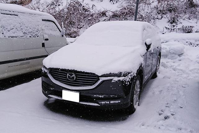 納車後、すぐにスキー場へとおもむいたAさんのマツダ「CX-8」。走行距離わずか200kmで、すでに雪まみれに