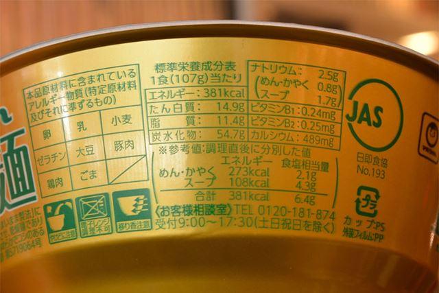 107g(麺は65g)に対して、381kcal