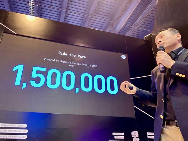 2018年の販売台数は約150万台。ほとんどが大手シェアリング・スクーター事業者向けのOEMとのこと