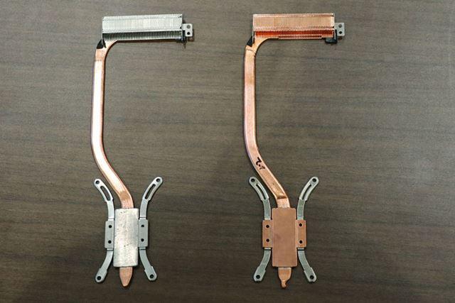 Core i7モデルは放熱フィンとヒートシンクの素材に熱伝導率の高い銅を使用(右)