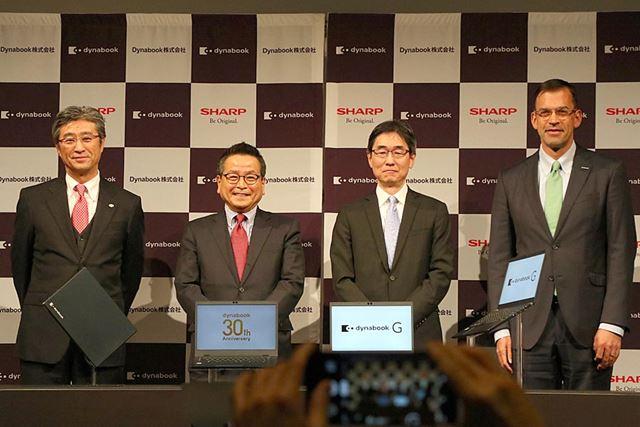 発表会には日本マイクロソフトの平野社長、インテルの鈴木社長が駆けつけた