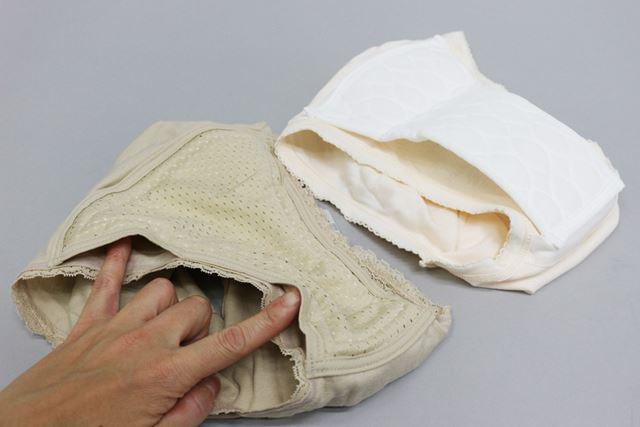 横からの漏れを防ぐために、パッドのサイドをパンツに直接縫い付けていない商品も多いようです