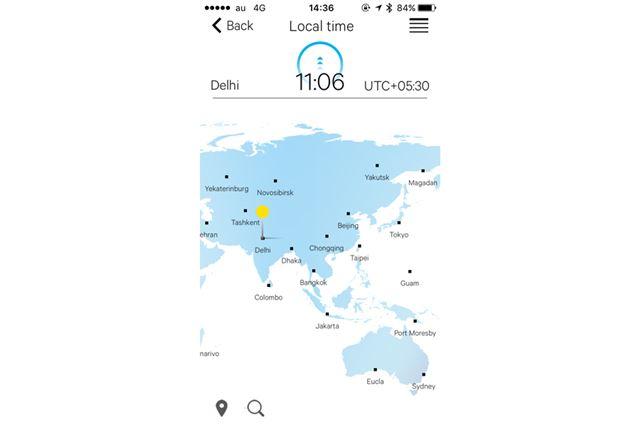 アプリの地図上(写真)で都市をタップして「送信」ボタンを押すだけで、時計側の時刻を自動修正できる