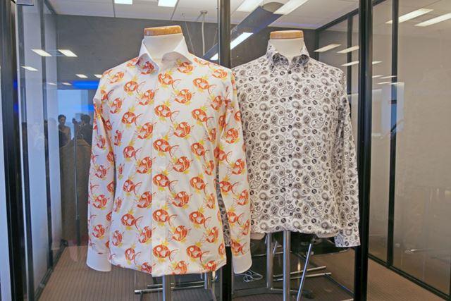 コイキング柄(左)、コクーン柄(右)を全面にプリントしたシャツ。コイキングのインパクトがすごい