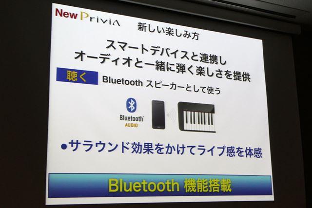 Bluetoothスピーカーとして使うこともできるし、スマホの音楽とあわせて演奏を楽しむこともできる
