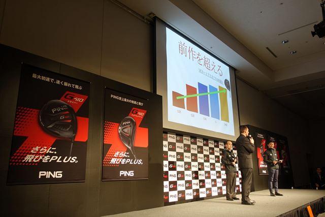 発表会にはアメリカ本社から開発スタッフを招き、G410の性能をアピールしていました