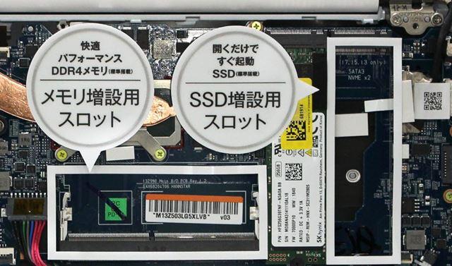 メモリーとSSDの増設用スロットをそれぞれ1基備える。なお、増設はメーカー対応となっている