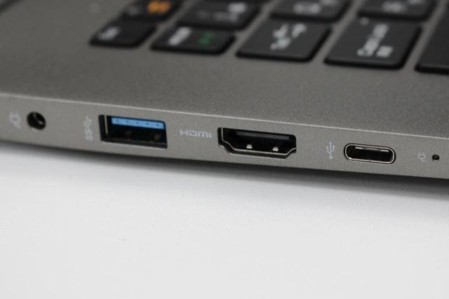 左側面に備わるUSB Type-Cポートは、USB PD対応。急速充電も行える