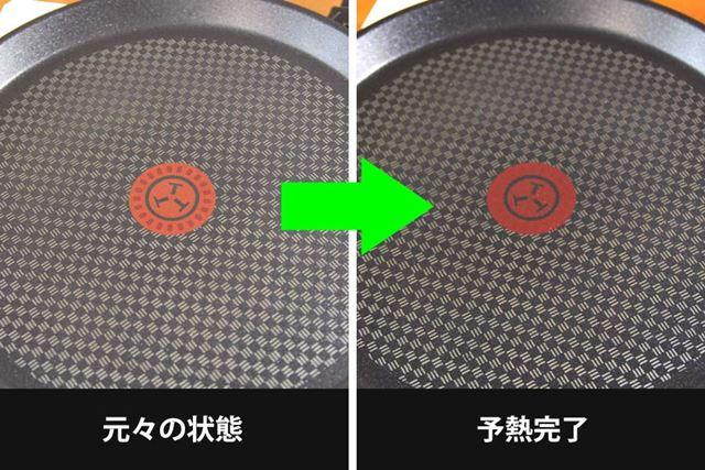 中央にあるマークの色と模様が変わったら予熱完了のサイン。クレープのタネを投入しましょう