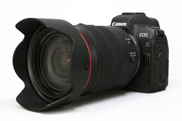 キヤノン初のフルサイズミラーレスカメラ「EOS R」に、「RF24-105mm F4L IS USM」レンズを装着した例