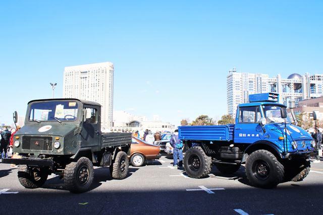 三菱「2W400」(左)と、メルセデス・ベンツ「ウニモグ」(右)