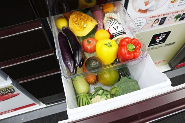 容量551L「SJ-GA55E」の野菜室は79L、容量502L「SJ-GA50E」の野菜室は73Lと、容量は少し小さめ