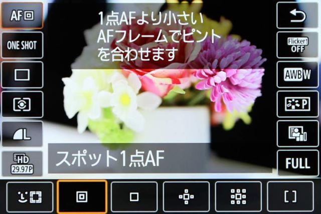 AF方式はEOS Rから一部変更となり、新たにスポット1点が追加された。ラージゾーンAFは非搭載となる