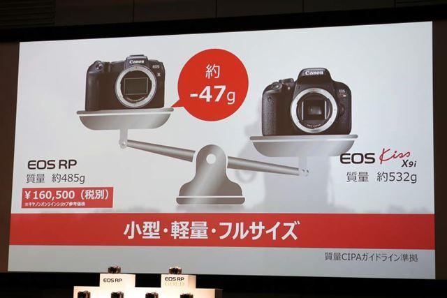 APS-C一眼レフ「EOS Kiss X9i」と比較しても約47g軽い