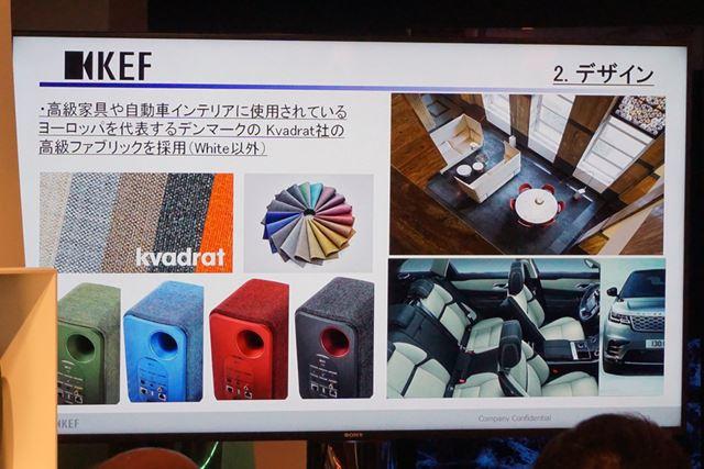 グロスホワイト以外の4色は、エンクロージャー側面にKcadrat社のファブリック素材を採用