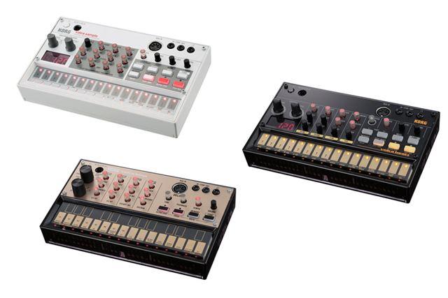 volcaシリーズの既存モデル。「volca sample」(左上)、volca beats(真ん中右)、volca keys(左下)