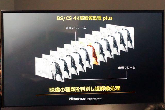 ネイティブ4K解像度の4K放送コンテンツに対しても超解像処理が加わっている