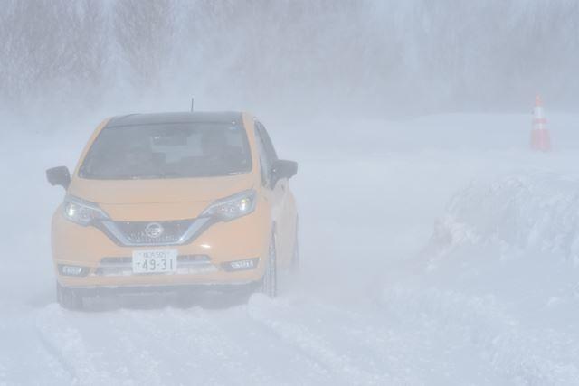 日産 雪上試乗会の当日は、一般道の試乗が中止になるほどの悪天候に見舞われた