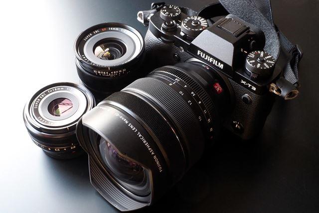 選んだ交換レンズは全て広角レンズ。もっとも狭い画角が27mm、広い方は12mmまで