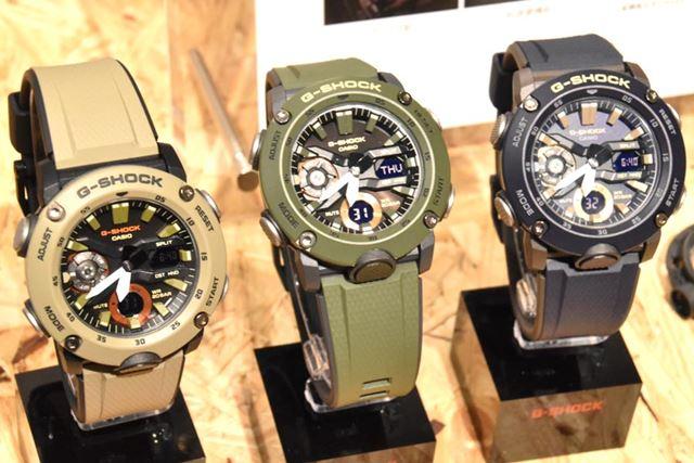 左から「GA-2000-5AJF」「GA-2000-3AJF」「GA-2000-2AJF」。メーカー希望小売価格は、各17,280円(税込)