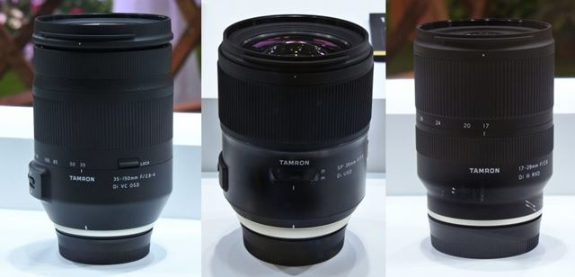 左から35-150mm F/2.8-4 Di VC OSD、SP 35mm F/1.4 Di USD、17-28mm F/2.8 Di III RXD