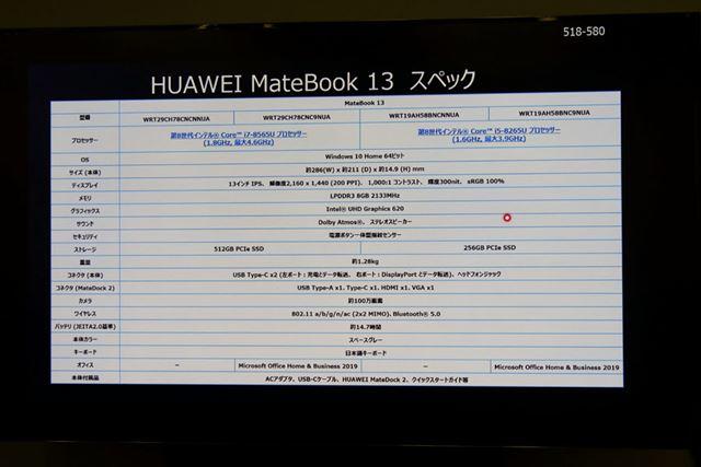 「MateBook 13」のスペック表