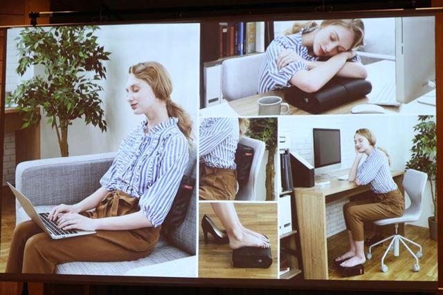 腰のマッサージはもちろん、足元に置いてフットマッサージャーとしても使用可。枕にもなります