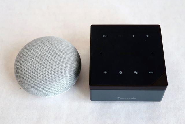 コエリモとGoogle Home miniと並べたところ。大きさは思ったほど大きくない