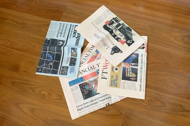 海外の新聞も新しいものばかりで、数種類の新聞が交ざっていました