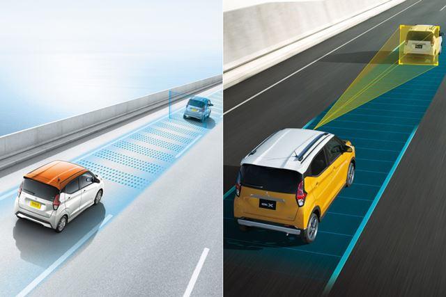 日産(左)、三菱(右)が公開している前車の追従画像