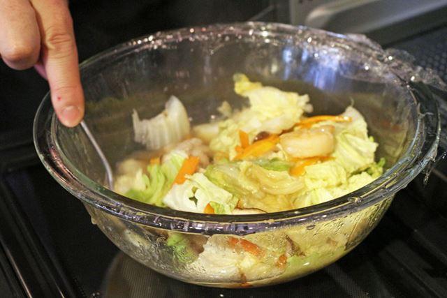 約15分で加熱終了。食材を混ぜてから、お皿に盛り付ければ完成です