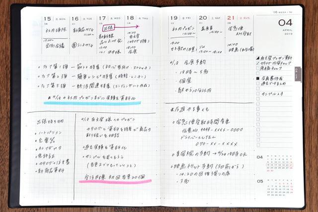 メインとなる週間バーチカルのページ。時間軸が書かれていないため、使い方の幅が広い